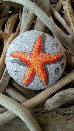Painted stones starfish miniature beach decor hand by AxiKedi
