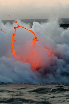 star-dusted: Kilauea volcano lava flow spitting into the air and ocean / Hooray for Earth - Momo album cover art (by Fuerza Natural, Dame Nature, Volcano National Park, National Parks, Lava Flow, Natural Phenomena, Science And Nature, Amazing Nature, Mother Earth