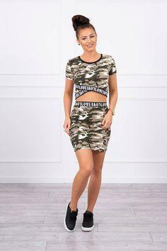 Set dama casual-sport cu imprimeu army 9093-1 Sport Casual, Shirt Dress, T Shirt, Army, Sports, Dresses, Fashion, Supreme T Shirt, Gi Joe