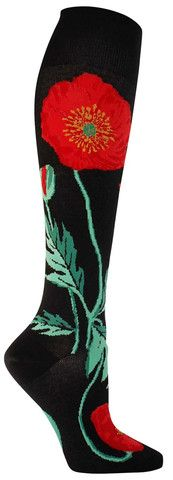 Bold Poppies Colorful Novelty Floral Socks for Women in Black