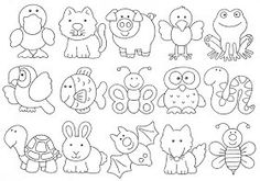 Redwork i aplicacions Felt Patterns, Applique Patterns, Colouring Pages, Coloring Books, Hand Embroidery, Embroidery Designs, Animal Templates, Digi Stamps, Felt Animals
