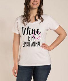 Look at this #zulilyfind! White 'Wine Is My Spirit Animal' V-Neck Tee - Plus #zulilyfinds