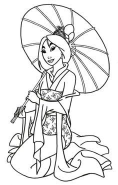 princess mulan disney printable coloring page