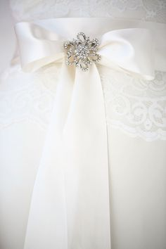 Blythe Sash & Sweetpea Brooch | Satin Sash Belt | Diamante Wedding Dress…