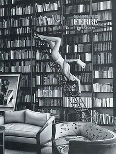 linda evangelista. 90s. just hanging out in her library. nbd.