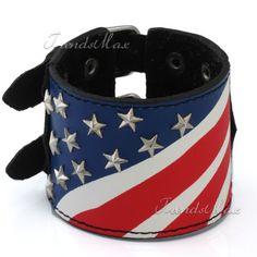 51MM Mens Womens Punk Black US/American Flag Leather Bracelet Buckle Adjustable