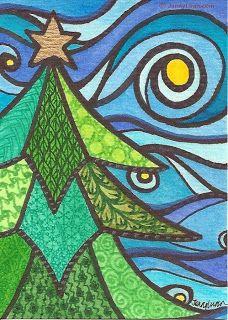 Jenny Luan Art: Season Greeting 2013 Christmas tree series by Jenn. Jenny Luan Art: Season Greeting 2013 Christmas tree series by Jenn… Christmas Art Projects, Christmas Tree Art, Winter Art Projects, Christmas Doodles, Christmas Drawing, Christmas Activities, Christmas Crafts, Whimsical Christmas Art, Holiday Tree