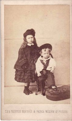 Princess Beatrice of the United Kingdom with her nephew, Prince Wilhelm of Prussia, later Kaiser Wilhelm II of Germany.