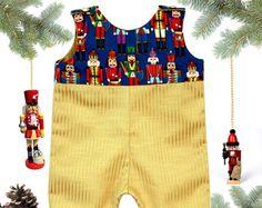 Nutcracker Romper -Christmas Outfit -Baby Boy Christmas Romper -Baby Boy Christmas Romper- Baby Jon Jon