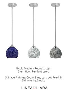 Nicola MEDIUM Round Stem Hung Pendant Lamp with Crackled Glass Shade-- 3 Available Finishes by Linea di Liara ✦ Uses 1 Medium Base (E26) Bulb - 100W Max (Not Included) ✦ http://lineadiliara.com/collections/pendant/products/nicola-medium-pendant #Lighting