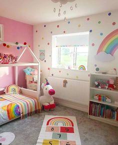 Girls Room Design, Girl Bedroom Designs, Bedroom Themes, Rainbow Room Kids, Rainbow Bedroom, Rainbow Wall, Toddler Room Decor, Toddler Rooms, Kids Bedroom Ideas For Girls Toddler