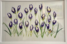 """Iris eyes"" won't be the only ones smiling when they look at this gorgeous painting featuring purple irises on a white background. Look closely and you'll see the flowers are actually imprints from each student's hands. School Auction Projects, Class Art Projects, Collaborative Art Projects, Classroom Art Projects, Art Classroom, Group Projects, Auction Ideas, Spring Art, Preschool Art"