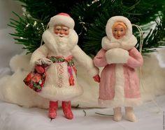 Новый год 2017 ручной работы. Ярмарка Мастеров - ручная работа. Купить дед мороз и снегурочка (ватная елочная игрушка). Handmade.