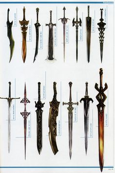 Weapon Concepts — Lineage 2 Concept Art-- Bottom right sword! Sword Fantasy, Fantasy Weapons, Katana, Armes Concept, Armadura Medieval, Sword Design, Anime Weapons, Medieval Weapons, Swords And Daggers