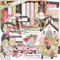 Digital scrapbooking wedding and card making wedding kit. All the necessities for a wonderful wedding day! FQB - With this Ring Collection Card Making Kits, Card Making Supplies, Craft Supplies, Wedding Freebies, Digital Scrapbooking Freebies, Wedding Scrapbook, Digital Stamps, Digital Papers, Diy Invitations