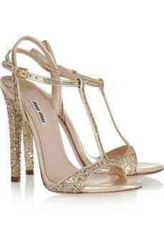 Miu Miu sparkle shoes - strappy sandals - t-bar - gold - high heels - wedding shoes - bridal shoes T Strap Sandals, Strap Heels, Heeled Sandals, Ankle Strap, Strappy Sandals, Bridal Shoes, Wedding Shoes, Wedding Pics, Look Fashion