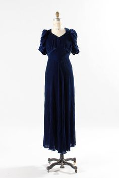 1930s blue velvet dress small / 30s blue velvet by TheParaders, $216.00