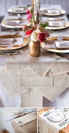 Como decorar tu boda con hojas de libro vintage