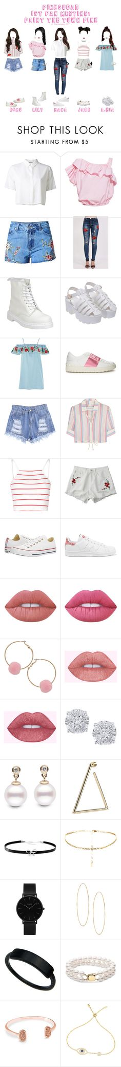 """PinKSugar 1st Fan Meeting: Paint The Town Pink"" by official-pinksugar ❤ liked on Polyvore featuring T By Alexander Wang, Pilot, Dr. Martens, Topshop, Valentino, Solid & Striped, Glamorous, Converse, adidas Originals and Lime Crime"