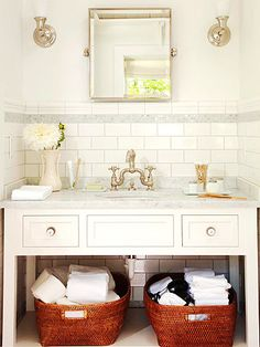 vanity, baskets, subway tile, faucet