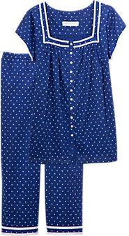 Womens Eileen West Capri Pajamas Sari Blouse Designs, Kurti Neck Designs, Night Suit, Night Gown, Sleepwear Women, Pajamas Women, Shorts E Blusas, Cotton Nighties, Nightgown Pattern