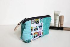 Unique Patchwork Pouch padded Cosmetic bag by Sunchildsews on Etsy