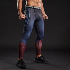 A universal icon, Superman means different things to the many diverse people he inspires: He's an alien; Man Thing Marvel, Compression Pants, Comfy Pants, Range Of Motion, Hot Guys, Hot Men, Spandex Material, Looks Cool, Sport Wear