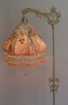 Nightshades - Victorian Lampshade with antique silk ribbon work flowers