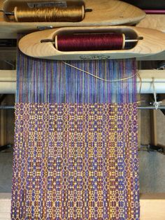 20140217-112543.jpg, variegated bamboo warp, 16/2 bamboo for tabby, 8/2 tencel weft pattern. Weaving design - Ferns and Flowers by Bertha Gray Hayes