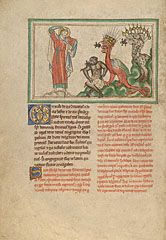 Unclean Spirits Issuing from the Mouths of the Dragon, the Beast, and the False Prophet (Getty Museum)