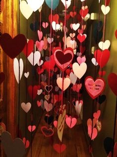 Surprise them by filling out the hall with hearts hanging from the ceiling. Want to make everything better? Each heart could contain the reasons you love them!