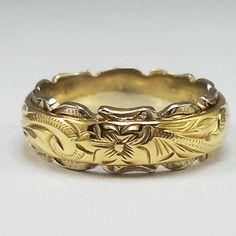 14K Gold Traditional Two Tone Barrel Ring / 6mmX4mm - Maxi Hawaiian Jewelry