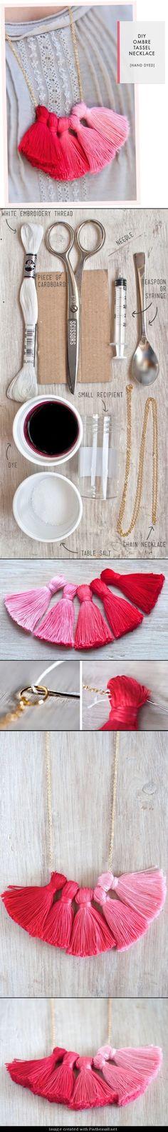 DIY Ombre Tassel Necklace necklace diy diy crafts do it yourself ombre tassel