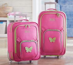 """Katherine would like this one with the """"flyfly"""" on it: Fairfax Pink Luggage #PotteryBarnKids"""