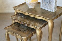 vintage gold nesting tables
