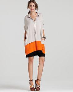 DIANE VON FURSTENBERG Hatsu Color Block Lily Crepe Dress