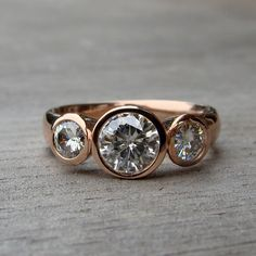 Moissanite and Recycled 14k Rose Gold by mcfarlanddesigns on Etsy