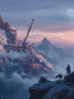 Colossal skeleton in the mountains
