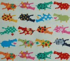 Cute  Hippos Fabric Pink Red 2 Yards by FabricBubble