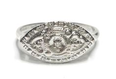 Vintage Diamond Ring Heart Design .01CTW 10KT White Gold Dason MSRP $300 GV85115 #Dason #Solitaire