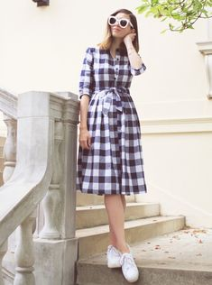 Blue tartan dress primark