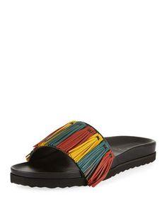 845ae6815968 Buscemi Multicolor Fringe Leather Slide Sandal. BuscemiBlack SandalsBlack  PatternLeather FringeSlippersSlide SandalsAccessoriesNeiman MarcusDesigner  Shoes