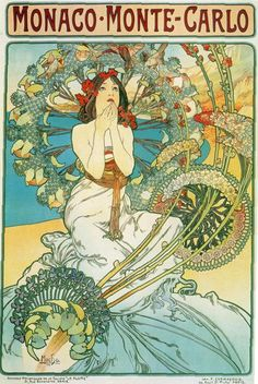Alphonse Mucha. Monaco Monte Carlo. 1897       I have always been inspired by Art Nouveau Illustrations