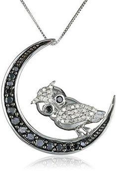 nice #blackdiamondgem 10k White Gold Black-and-White Diamond Owl Pendant Necklace (1/...