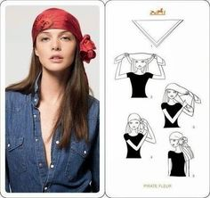 Learn how to wear your Hermes Scarf in different ways. Hermès Scarf Around Your Neck, as a Belt, Clothing Accessory, Handbag and more. Explore how to Tie a Hermes Scarf in stylish ways! Pirate Day, Pirate Birthday, Pirate Theme, Looks Halloween, Gypsy Costume, Gypsie Costume Diy, Gypsy Halloween Costumes, Halloween Makeup Pirate, Scarf Knots