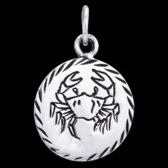Silver pendant, star-signs, cancer Silver pendant, Ag 925/1000 - sterling silver. A round pendant decorated with horoscope sign cutouts. Diameter approx. 15mm.