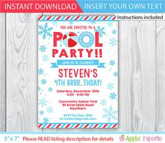 Pool Party Invitation Pool Party Birthday Invitation Swimming
