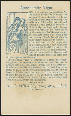Ayer's Hair Vigor for the toilet. Restores gray hair to its natural vitality and color. [back] | Flickr - Photo Sharing!