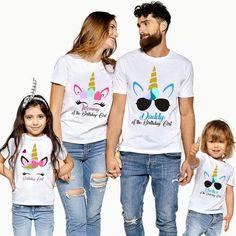 Funny Short Sleeve Unicorn Printed Birthday Family Matching T-Shirt $13.99