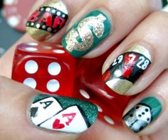 #Casino #Fashion - Casino themed Nails. Great idea for Casino #Parties